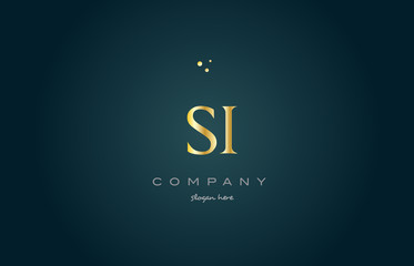 si s i  gold golden luxury alphabet letter logo icon template