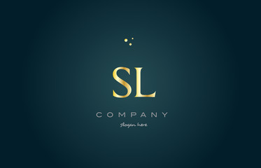 sl s l  gold golden luxury alphabet letter logo icon template