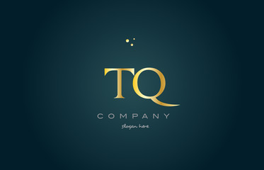 tq t q  gold golden luxury alphabet letter logo icon template