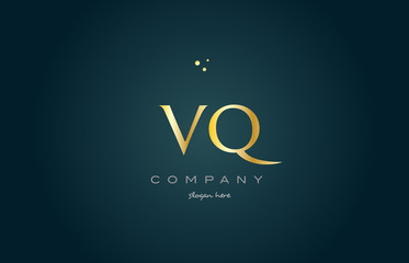 vq v q  gold golden luxury alphabet letter logo icon template