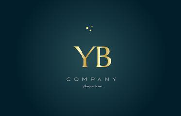 yb y b  gold golden luxury alphabet letter logo icon template
