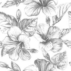 Tropical flowers and leaves seamless background, hand drawn monochrome botanical repeating pattern on white backdrop. Vintage vector illustration