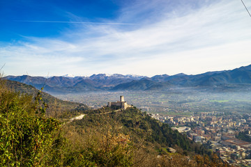 Panorama of the city of Cassino, Italy.