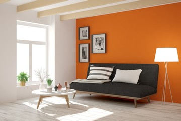 Orange modern room with sofa. Scandinavian interior design. 3D illustration