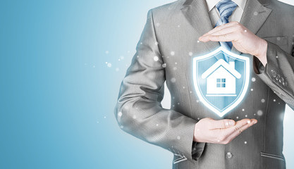 House protection and insurance. Home shield. Real estate safety.