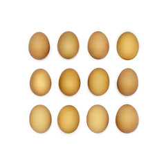 Square made of dozen brown eggs.