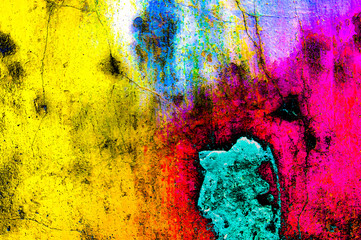 In de dag Graffiti Grunge color wall background texture in rainbow style