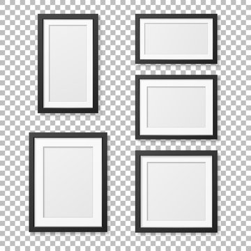 Vector realistic blank picture frame template set isolated. EPS10.