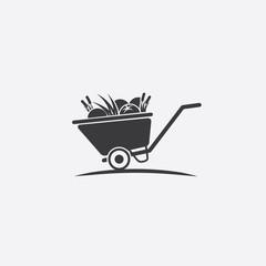 Wheelbarrow filled with fresh food icon symbol. Farm to table harvest logo inspiration. EPS 10 vector.