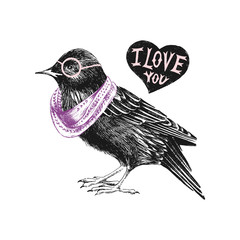 Fototapete - Valentines day card with starling and heart