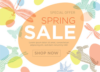 Vector banner with Easter and spring symbols. Spring sale. Template for advertising on the Internet, posters, posters, banners, leaflets
