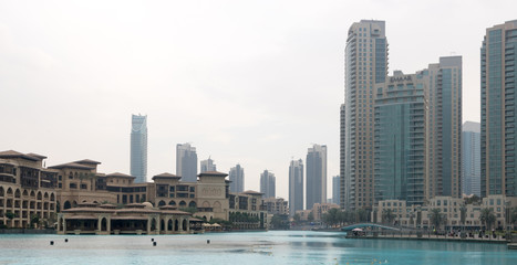 Downtown Dubai, panoramic view of the modern city centre