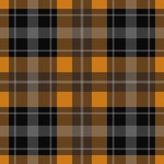 seamless orange, black tartan - white stripes