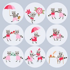 Round stickers with cute cartoon raccoons. Vector illustration.