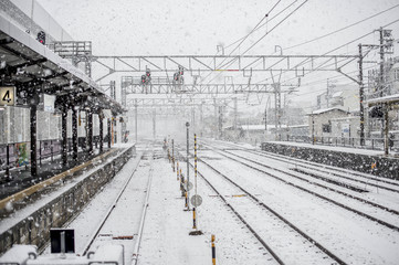 Snow Storm At A Train Station In Japan
