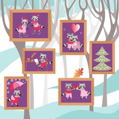 Pictures with cute cartoon raccoons on the wall. Beautiful design.