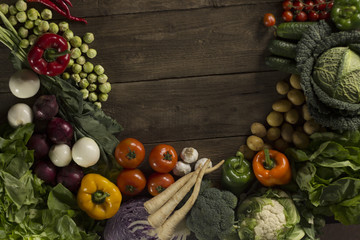 Healthy food, Fresh vegetables on the wooden surface, place for typography
