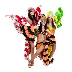 samba dancer team dancing isolated on white in full length