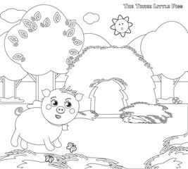 Coloring three little pigs 3: the strew house