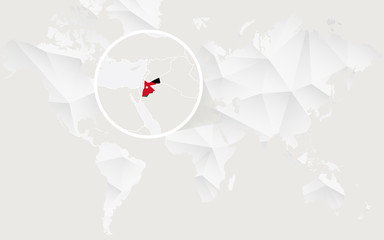 Jordan map with flag in contour on white polygonal World Map.