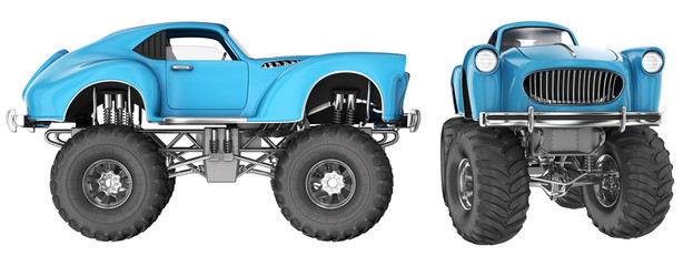 Car with large wheels, Monster Truck. 3d image set isolated on white.