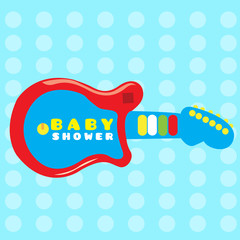 Colored baby shower card with a guitar toy, Vector illustration