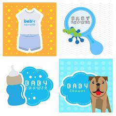Set of baby shower cards, Vector illustration