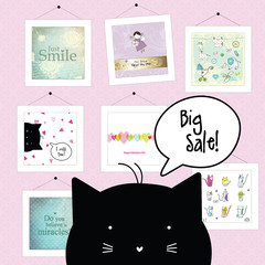 Big spring sale. Cat character. Background template. Design elements. Pictures.