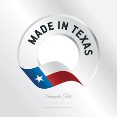 Made in Texas transparent logo icon silver background