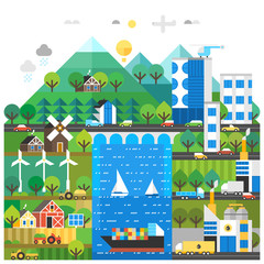 Ecology Concept. Environmental pollution and environment protection. Urban and village landscape.