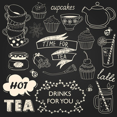 A collection of varieties of tea and drinks. Vector illustration