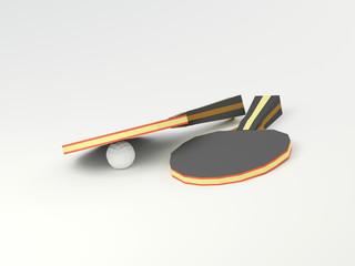 Ракетки для настольного тениса с шариком на белом фоне