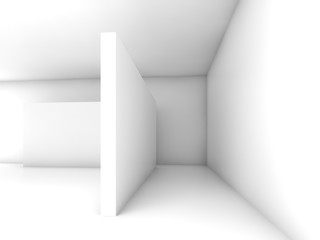 Abstract white empty interior, 3d design