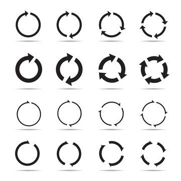 Set of black circle vector arrows.
