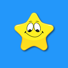 Yellow star on a blue background with a cheerful smile. Sign and symbol for the mark. Vector illustration.
