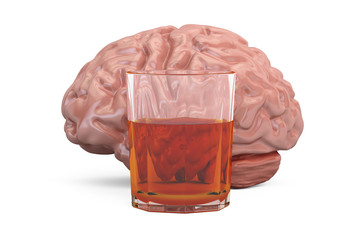 Brain and glass with alcohol drink, alcoholism concept. 3D rendering