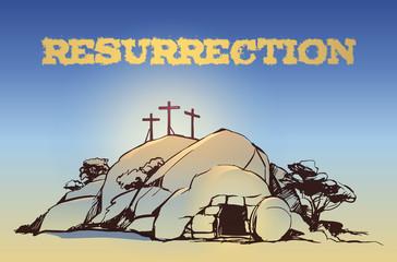 Drawing vector Calvary, Cross, cave resurrection