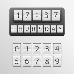 countdown timer, a mechanical scoreboard blank and various numerals. mechanical clock on digits board panel. Vector illustration