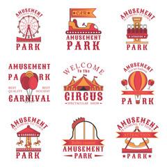 Set of amusement park logos