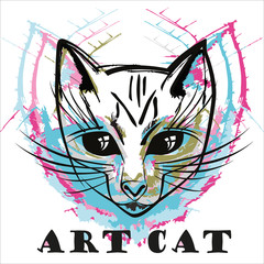 Abstract ink cat portrait isolated on white background