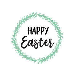 Happy Easter lettering with wreath