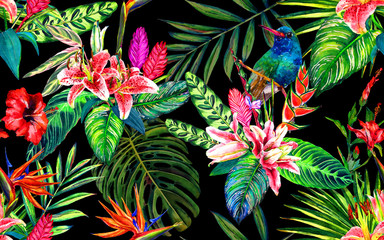 Seamless tropical floral pattern. Hand painted watercolor exotic leaves, flowers and a hummingbird, on black background. Textile design.