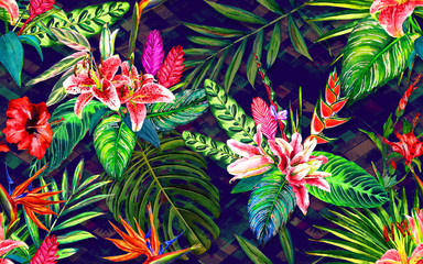 Seamless tropical floral pattern. Hand painted watercolor exotic leaves and flowers, on diamond ornament. Textile design.