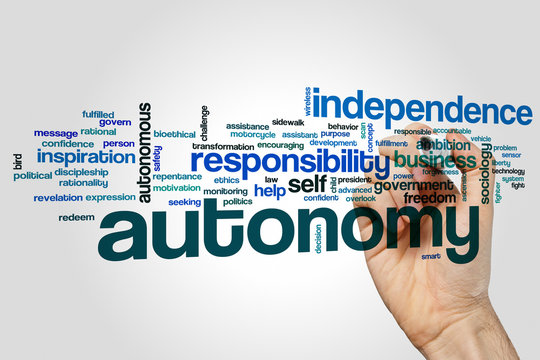 Autonomy word cloud concept on grey background