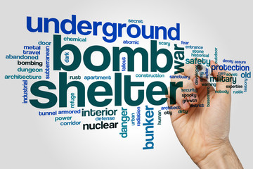 Bomb shelter word cloud concept on grey background