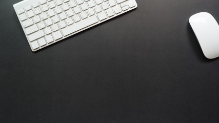 Wall Mural - workspace desk with keyboard copy space background black