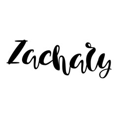 Male name - Zachary. Lettering design. Handwritten typography. Vector