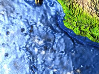 Yucatan on Earth - visible ocean floor