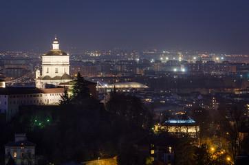 Turin scenic view with Monte dei Cappuccini at night