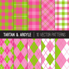 Girly Pink Green Golf Patterns: Argyle, Tartan and Gingham Plaid. Preppy Style Women's Golf Fashion Backgrounds.  Perfect for Charity Golf Events or Birthday Party Decor. Vector Tile Swatches Included